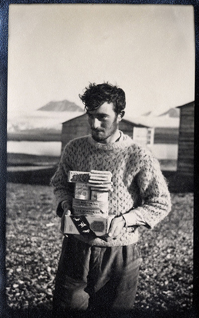 Brian Harland in Spitsbergen carrying supplies