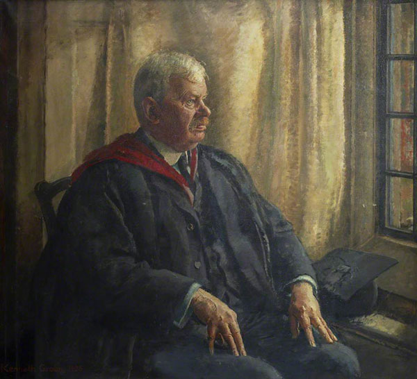 John Edward Marr painting, seated in university robes.