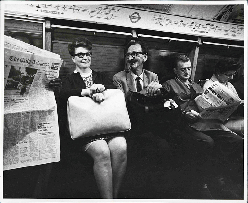 Stuart Agrell on the underground with a carpet bag of rocks from the Apollo 11 mission